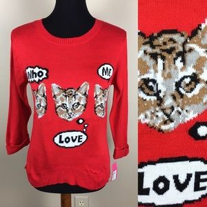 Adorable xhilaration cat sweater size M NWT